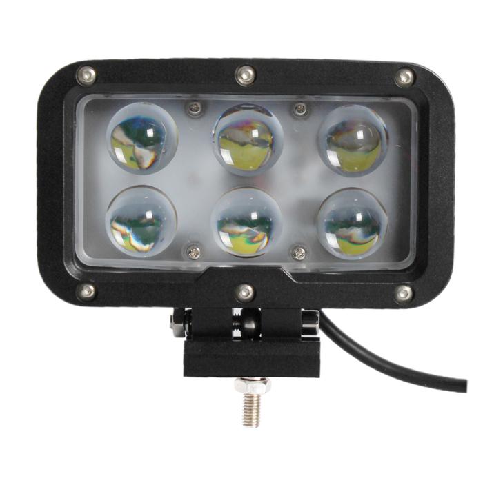 LED světlo na pracovní stroje obdélníkové 10-30V, 6 x 10W
