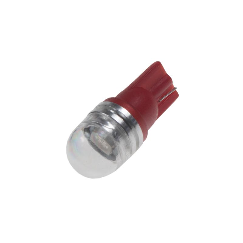 LED T10 červená, 12V, 1LED/3SMD s čočkou
