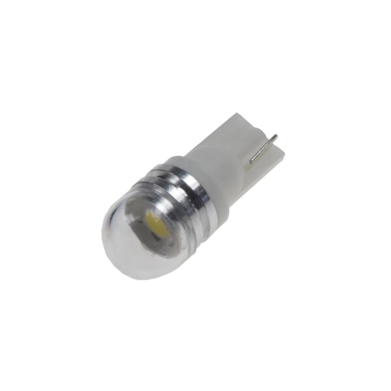 LED T10 bílá, 12V, 1LED/3SMD s čočkou