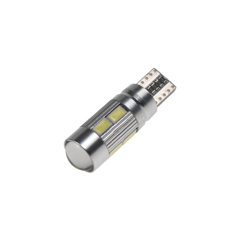 LED T10 bílá, 12V, 10LED/5630SMD s čočkou