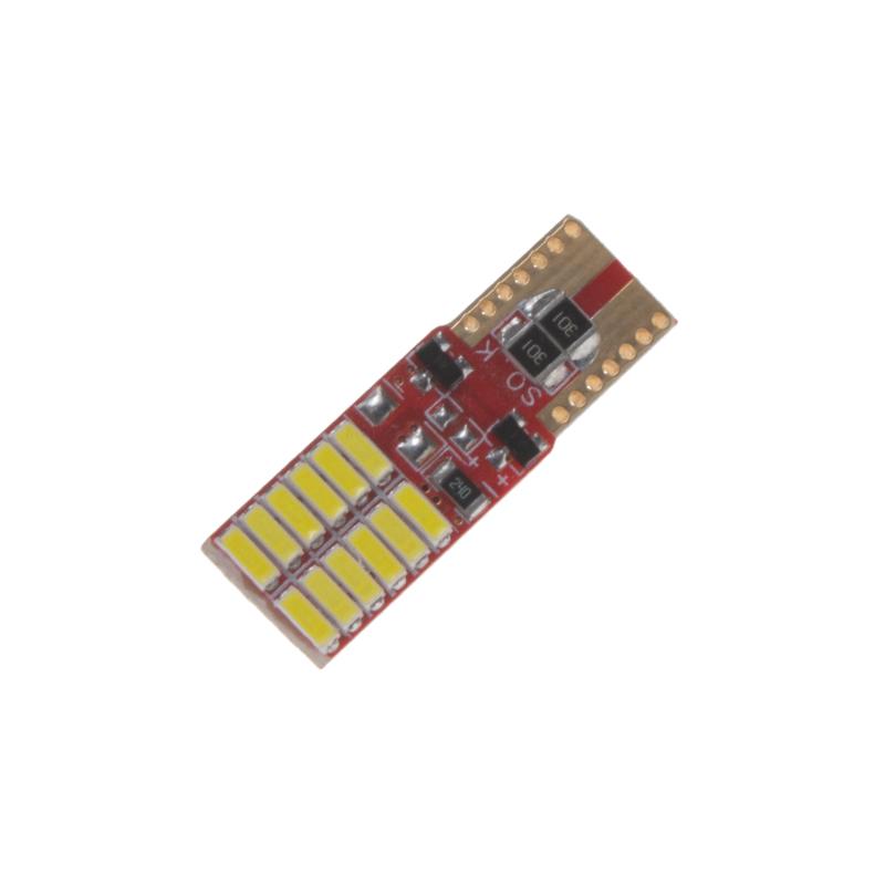 LED T10 bílá, 12V, 12LED/4014SMD, jednostranná