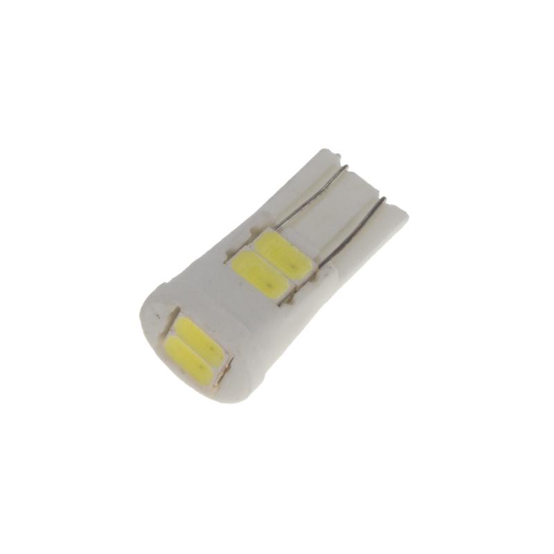LED T10 bílá, 12V, 6LED/5630SMD s keramickou paticí