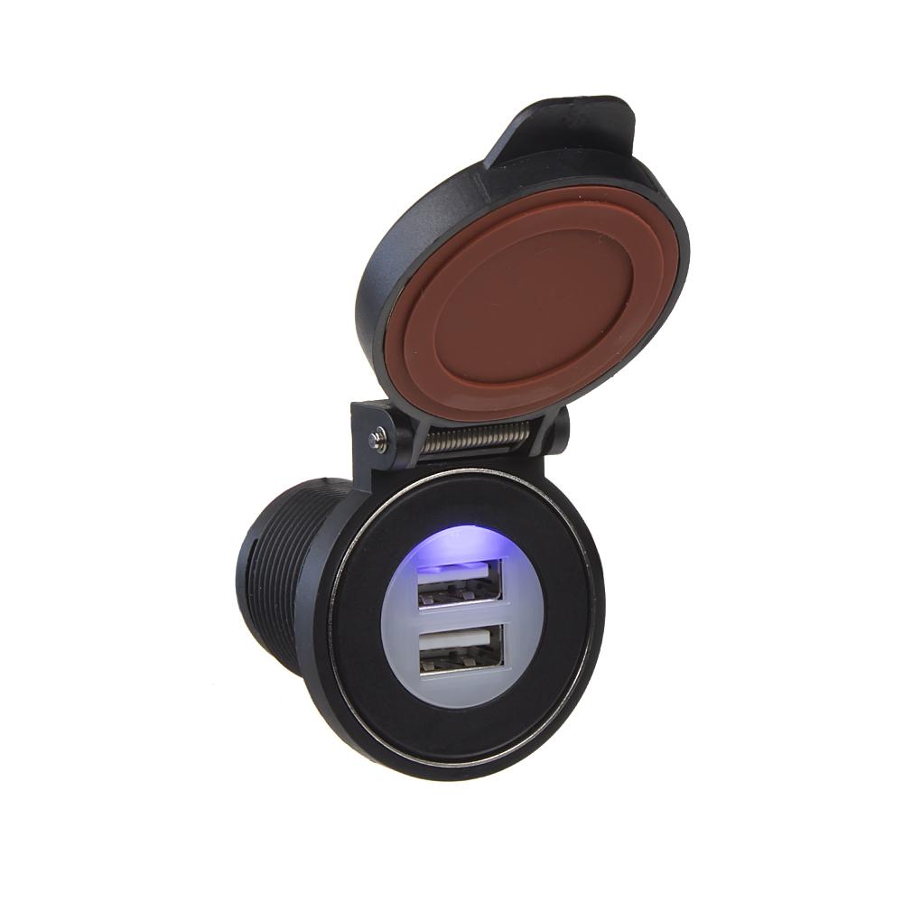 2x USB zásuvka s magnetem ve voděodolném držáku max 2x 2,4 A