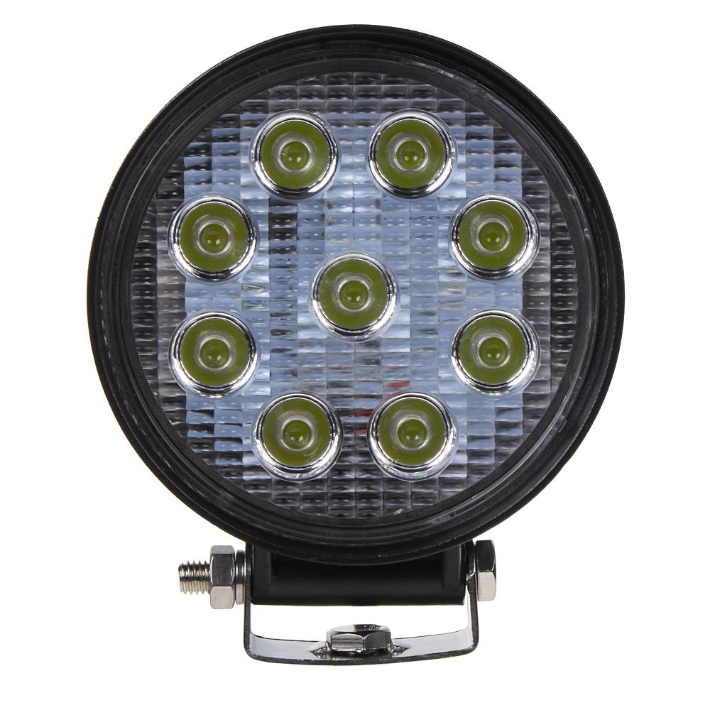 LED světlo na pracovní stroje kulaté 10-30V, 9x3W, ECE R10