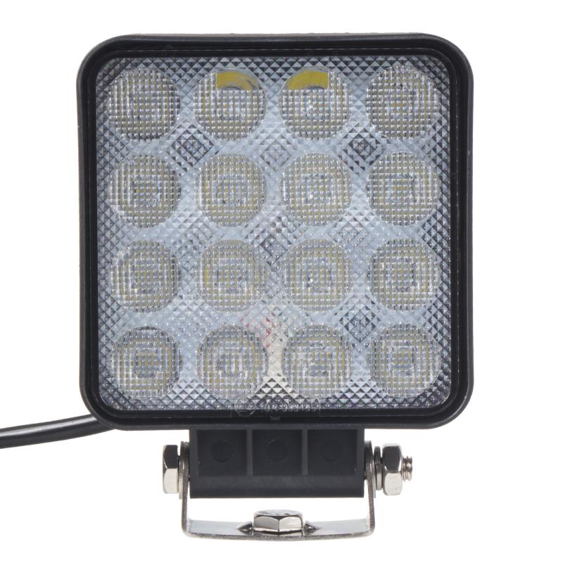 LED světlo obdélníkové SLIM, 16x3W, 128x110mm, ECE R10