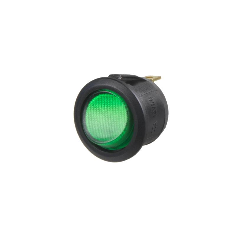 Spínač kolébkový kulatý 20A zelený s podsvícením