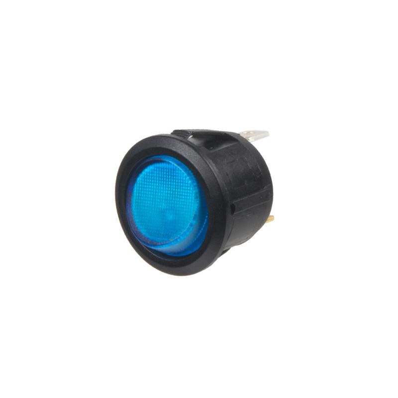 Spínač kolébkový kulatý 20A modrý s podsvícením