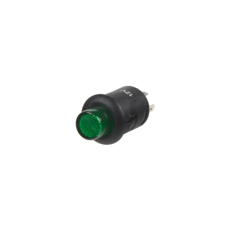 Tlačítko kulaté 6A zelená LED