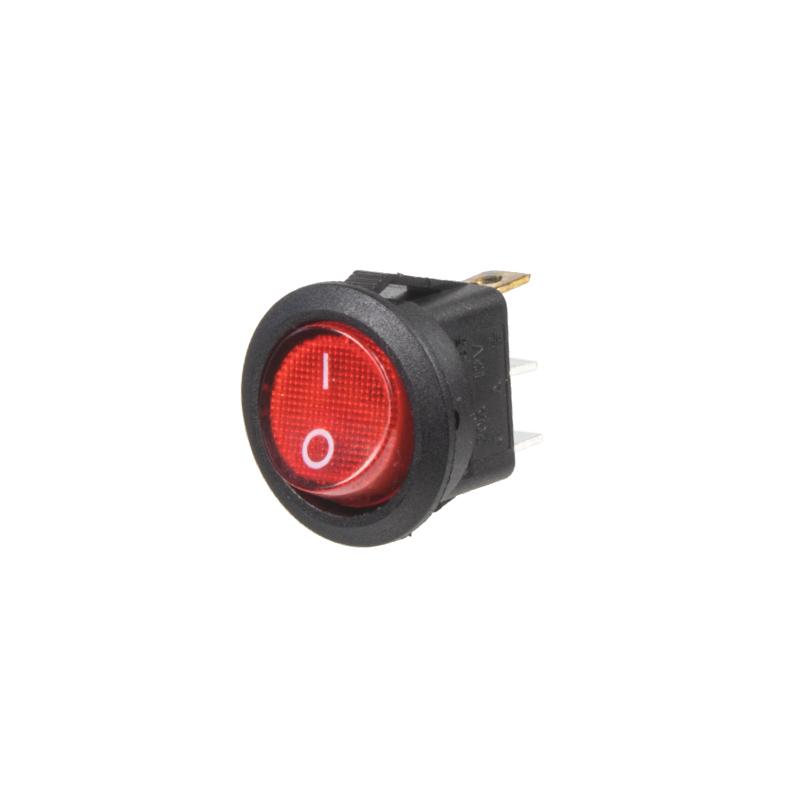 Spínač kolébkový kulatý 20A červený s podsvícením