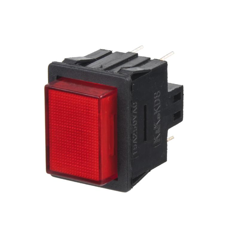 Tlačítko velké hranaté červené