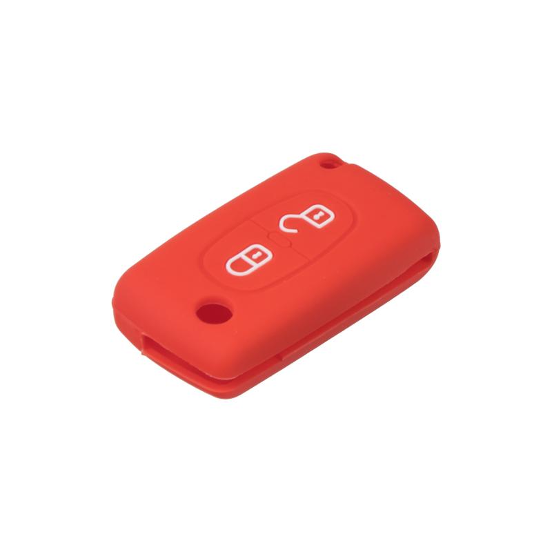 Silikonový obal pro klíč Peugeot/Citroën, 2-tlačítkový, červený