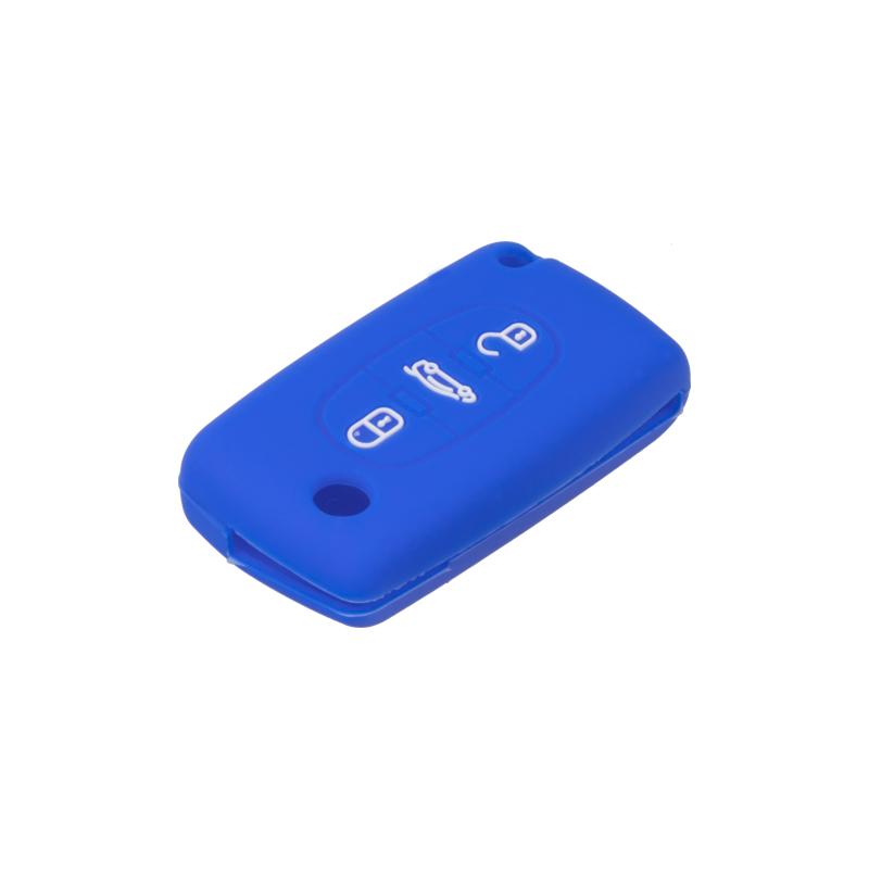 Silikonový obal pro klíč Peugeot, Citroën, 3-tlačítkový, modrý