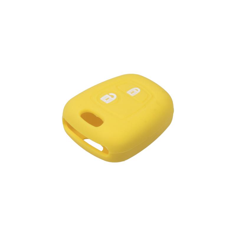 Silikonový obal pro klíč Peugeot, Citroën, 2-tlačítkový, žlutý
