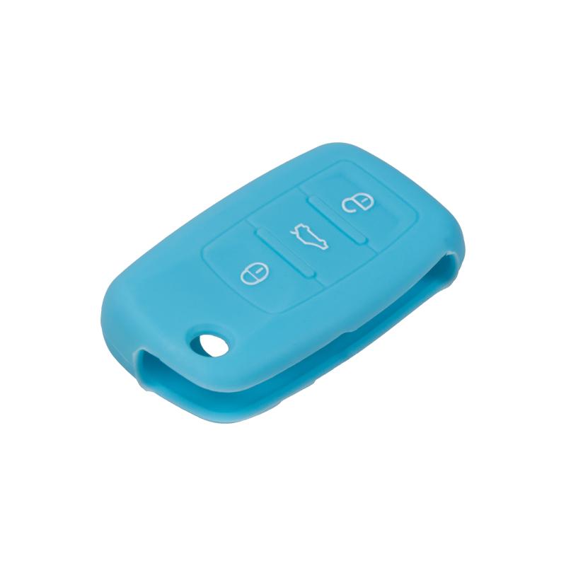x Silikonový obal pro klíč Škoda, VW, Seat 3-tlačítkový, modrý