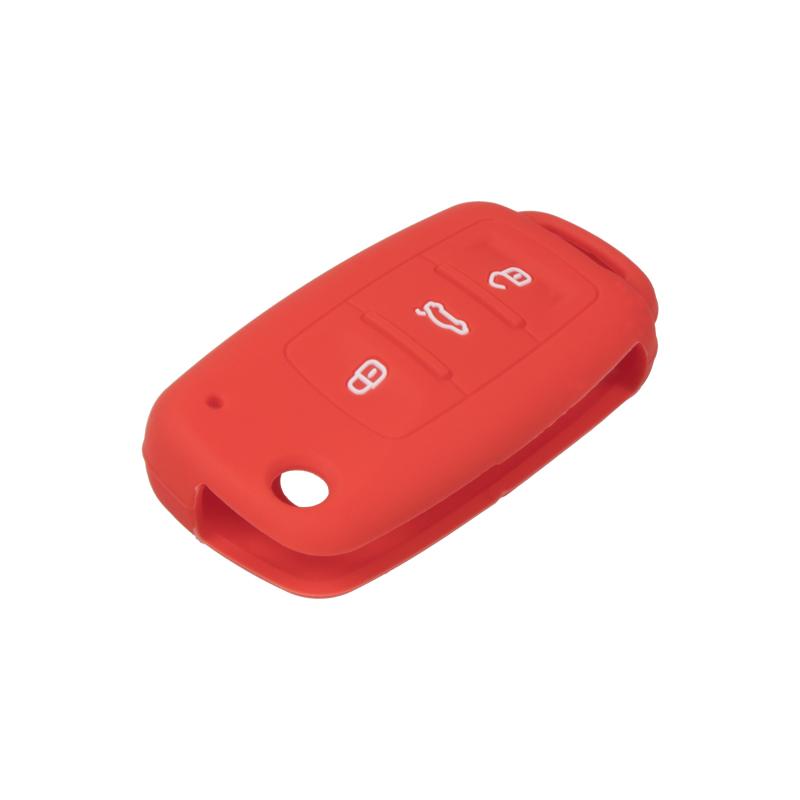 Silikonový obal pro klíč Škoda, VW, Seat 3-tlačítkový, světle červený