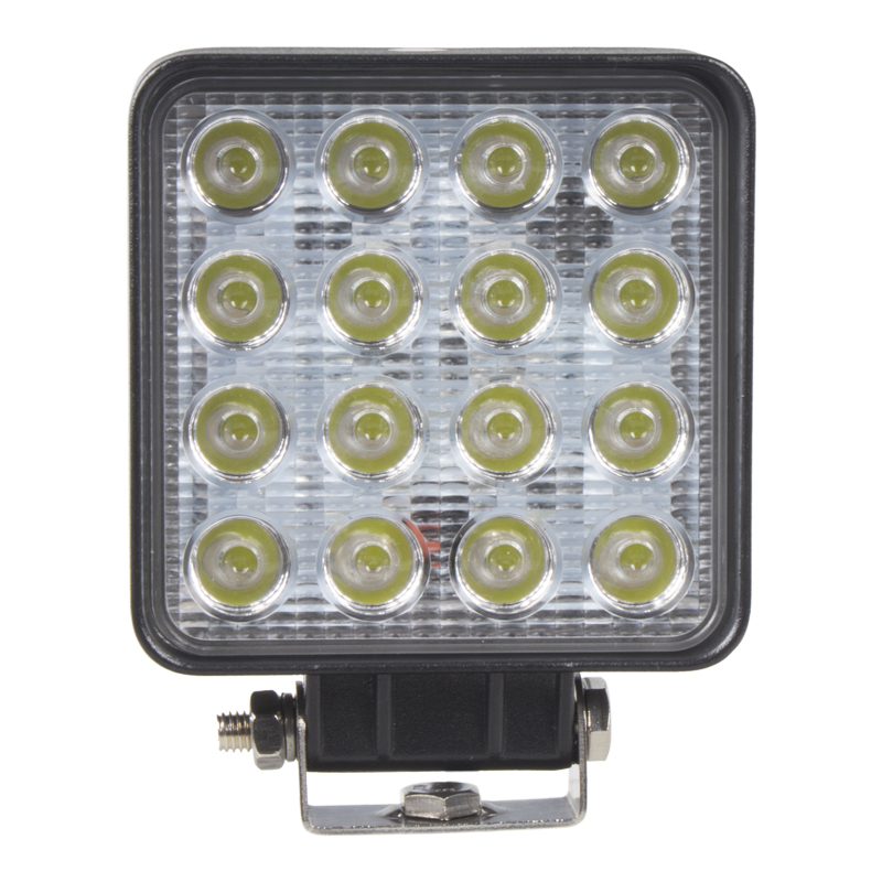 LED světlo 10-30V, 16x3W, R10, rozptýlený paprsek, 107x107x60mm