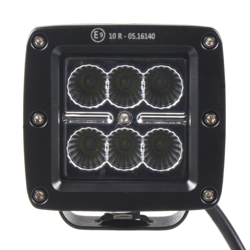 LED světlo hranaté, 6x3W, 82x75x72mm, ECE R10
