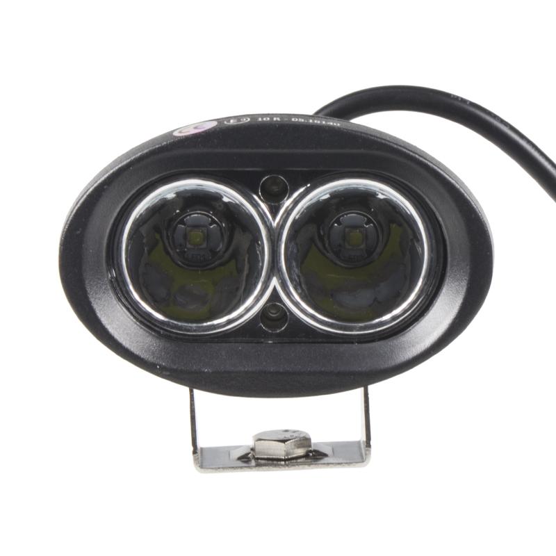 LED světlo oválné 10-60V, 2x10W, R10, bodový paprsek, 97x63x75mm
