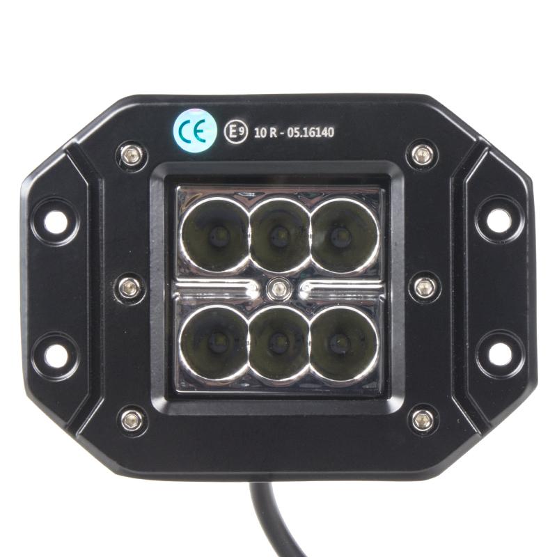 LED světlo 10-30V, 6x3W, R10, bodový paprsek, 122x91x68mm