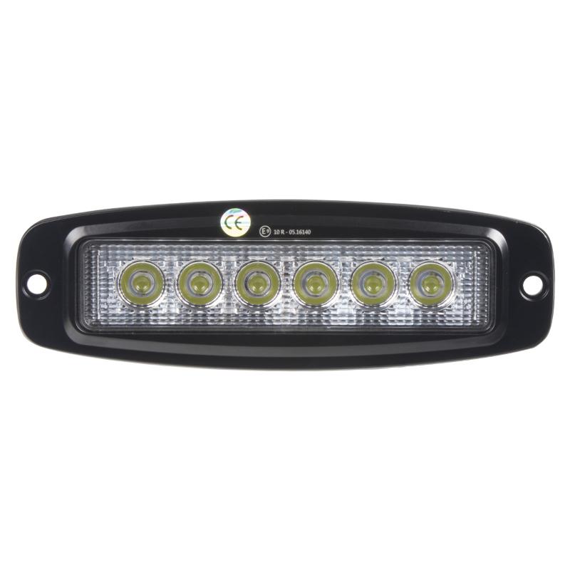 LED světlo 10-30V, 6x3W, R10, rozptýlený paprsek, 185x59x35mm