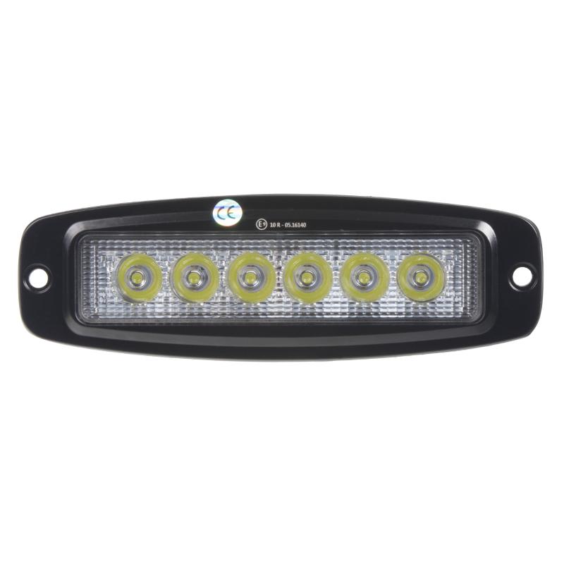 LED světlo 10-30V, 6x3W, R10, bodový paprsek, 185x59x35mm