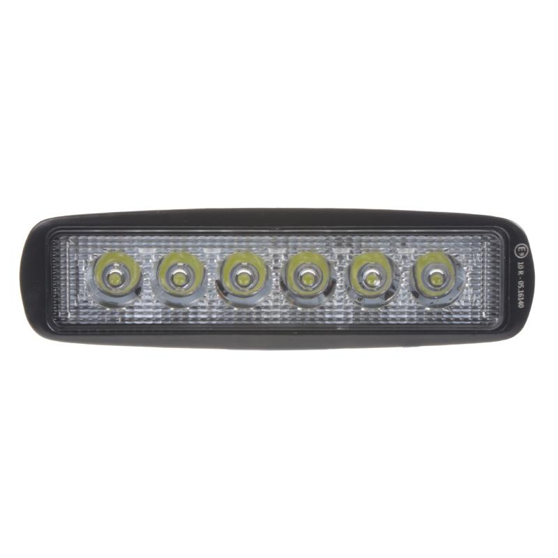 LED světlo 10-30V, 6x3W, R10, bodový paprsek, 160x46x53mm