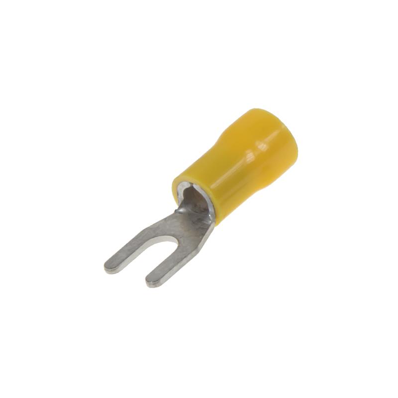 Kabelová vidlička M4 žlutá, 100 ks