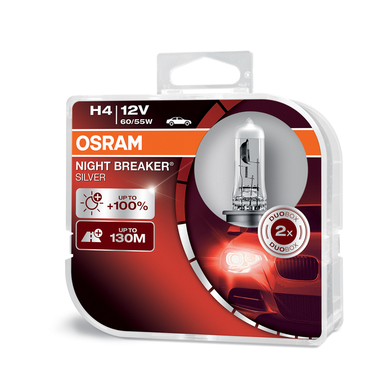 OSRAM 12V H4 60/55W night breaker silver (2ks) Duo-box