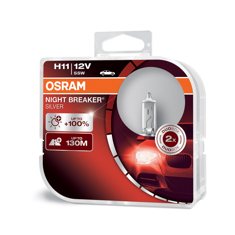 OSRAM 12V H11 55W night breaker silver (2ks) Duo-box