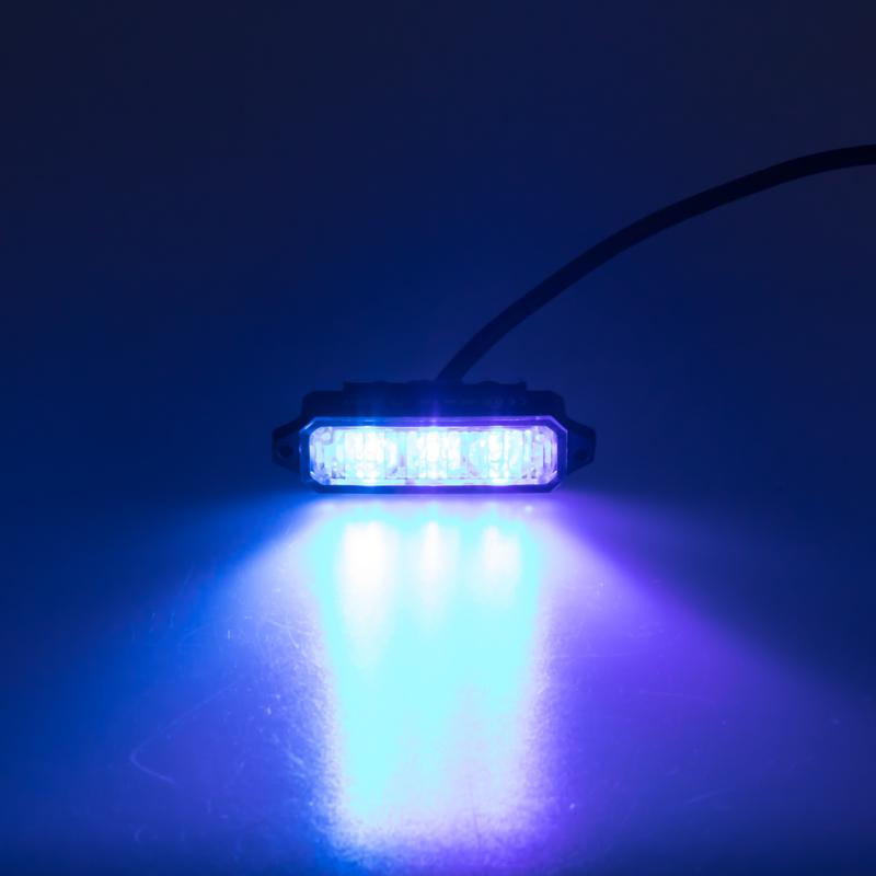 MINI PREDATOR 3x1W LED, 12-24V, modrý, ECE R10