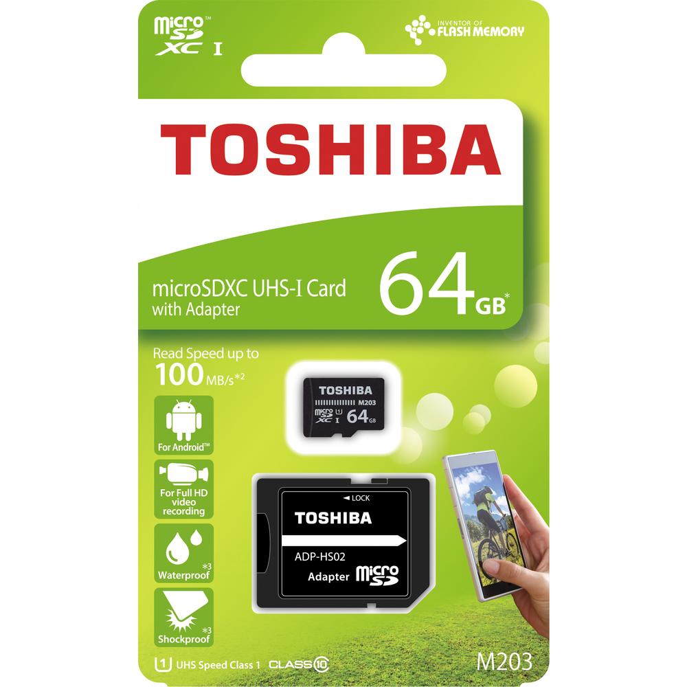 Paměťová karta MicroSDXC 64GB 100M UHS-I + adaptér, TOSHIBA