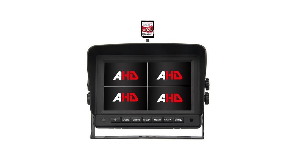"""AHD 960,720P monitor 7"""" s kvadrátorem a DVR"""