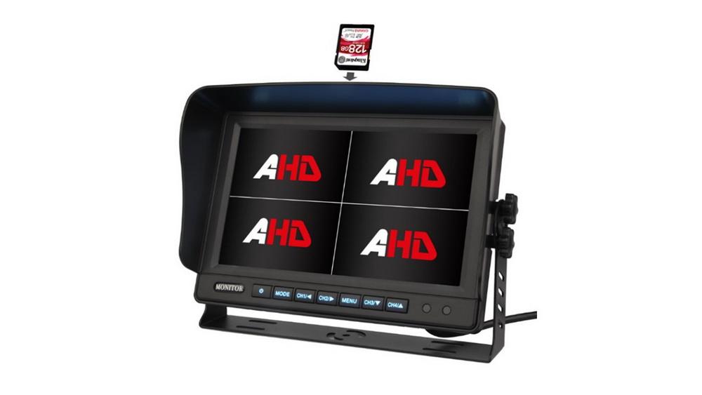"""AHD 960,720P monitor 10,1"""" s kvadrátorem a DVR"""