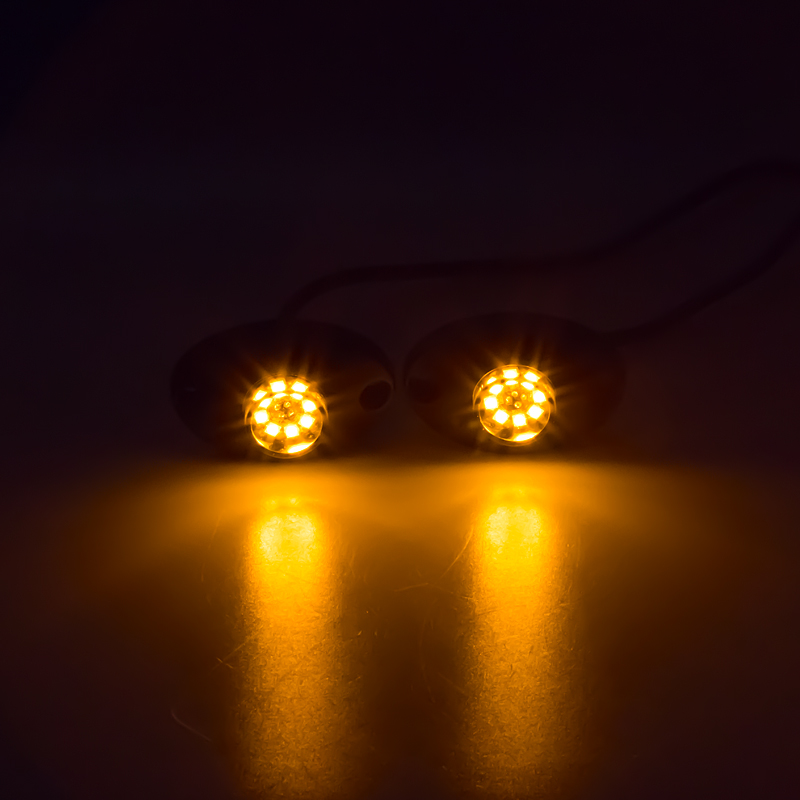 LED stroboskop oranžový 8x3W, 12-24V