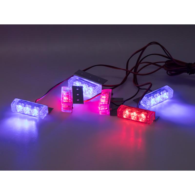 PREDATOR LED do mřížky, 12V, modro-červená