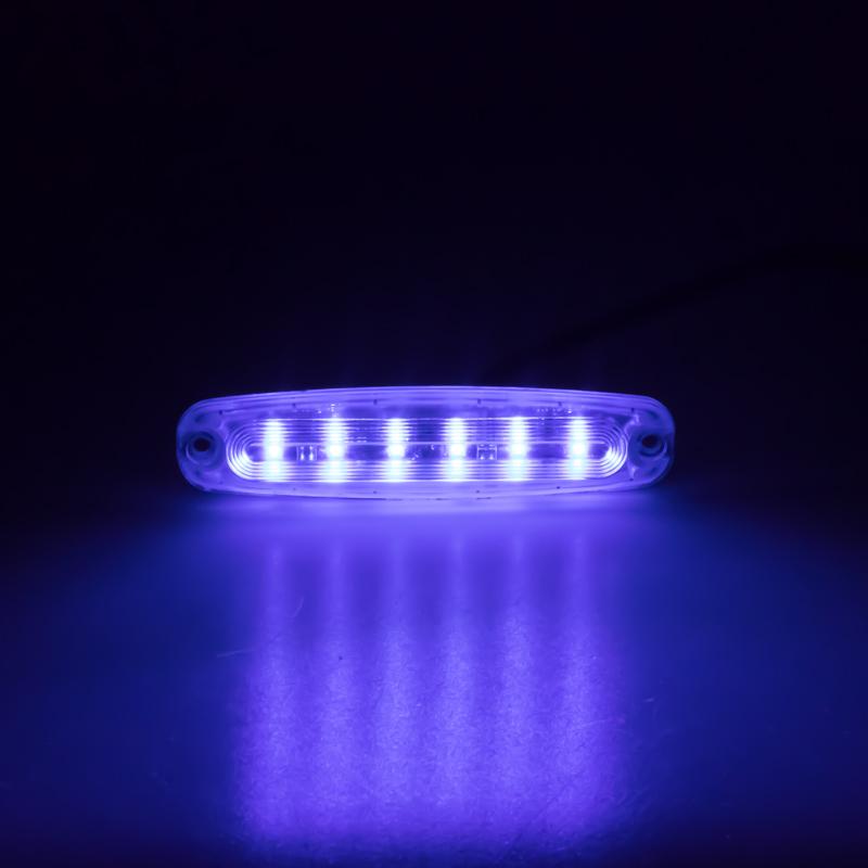 PREDATOR Ultra Slim 6x5W LED, 12-24V, modrý, ECE R10 R65