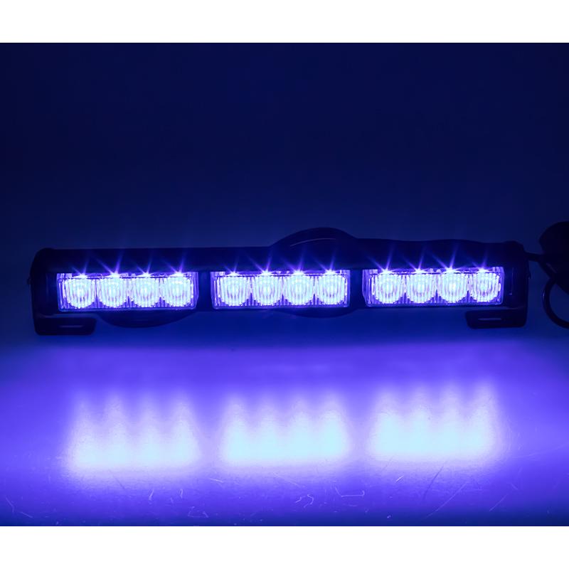 LED světelná alej, 12x LED 3W, modrá 360mm, ECE R10