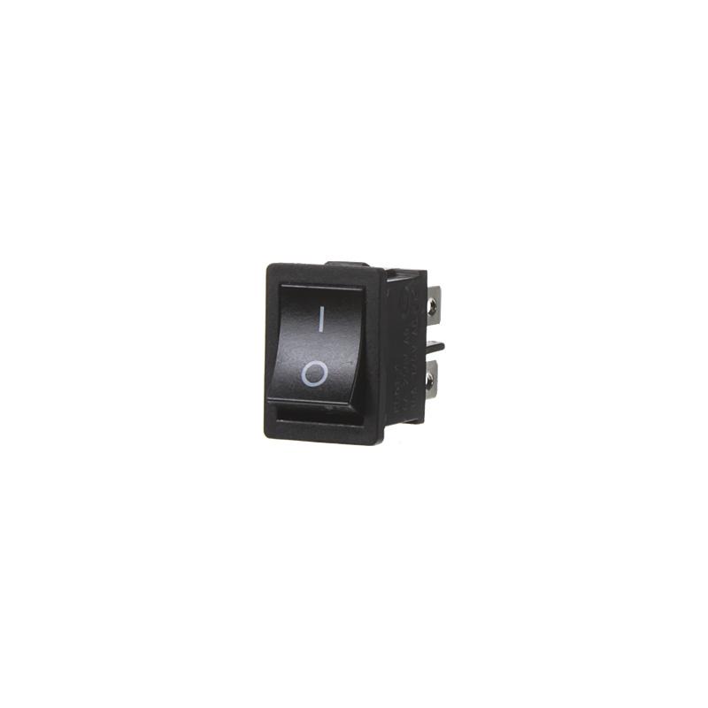 Spínač kolébkový hranatý 6A, černé tlačítko