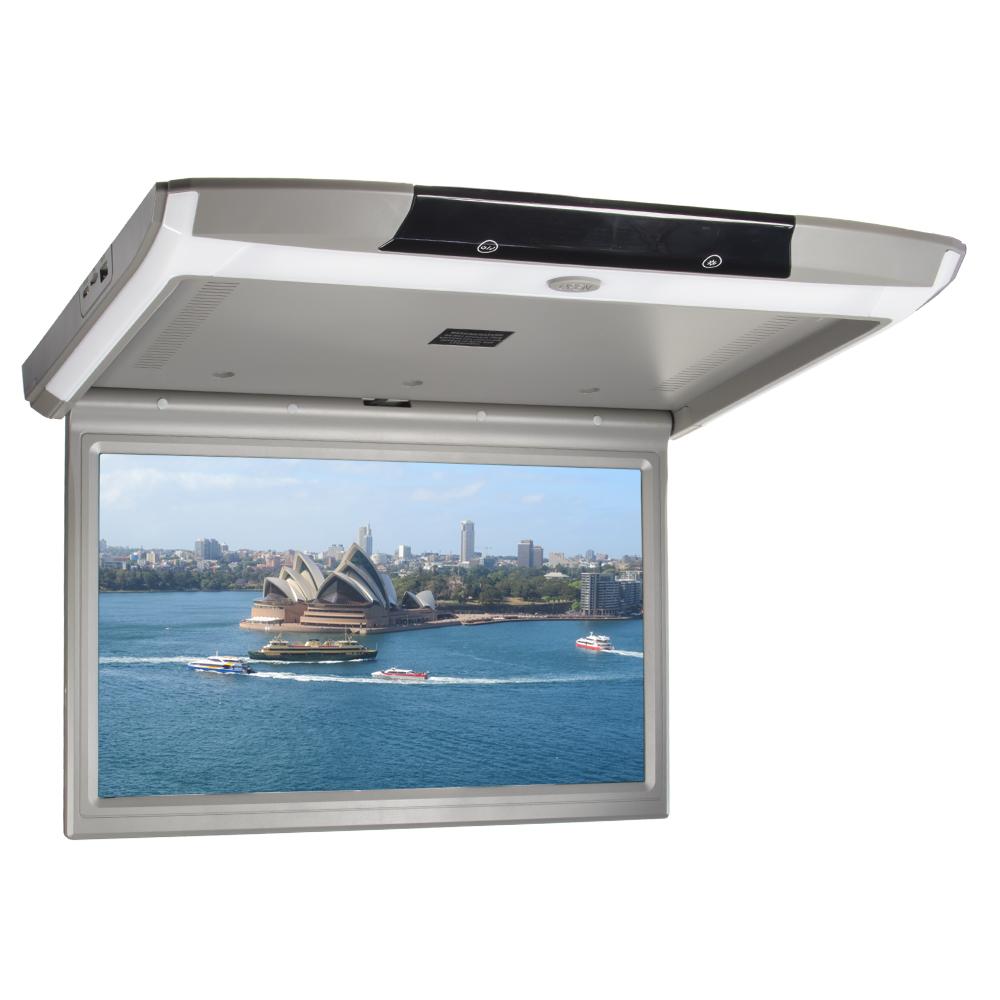 """Stropní LCD monitor 15,6"""" s OS. Android USB/SD/HDMI/FM, dálkové ovládání se snímačem pohybu, šedý"""