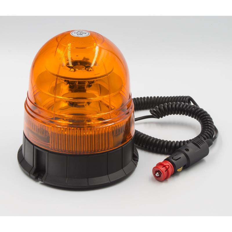 LED maják, 12-24V, 18x3W, oranžový magnet