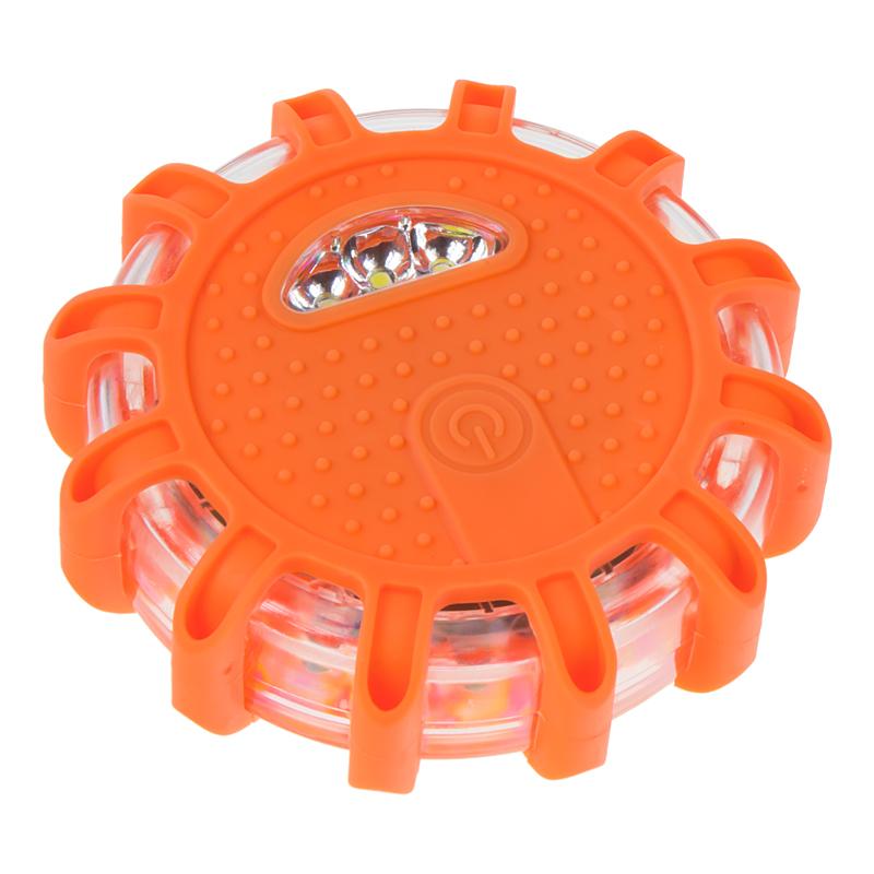 LED výstražné světlo 12 + 3LED na 3x baterii AAA, oranžové