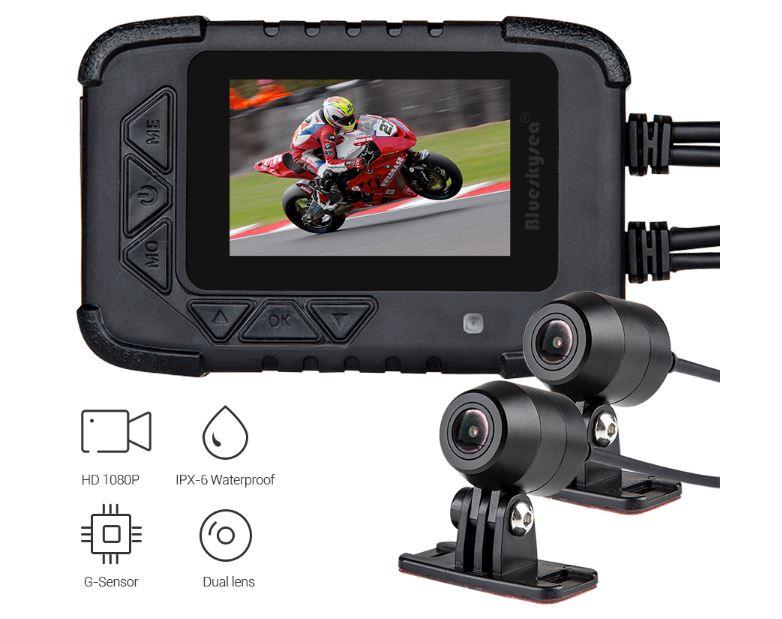 "Motocyklová DUAL FULL HD kamera, 2,4"" LCD, IP67 s GPS"