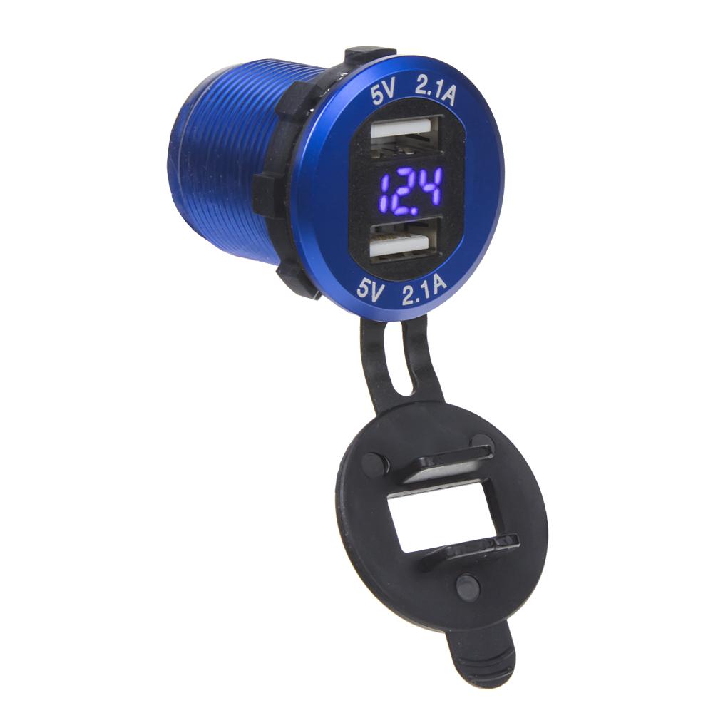 2x USB nabíječka s voltmetrem, hliníková do panelu, modrá