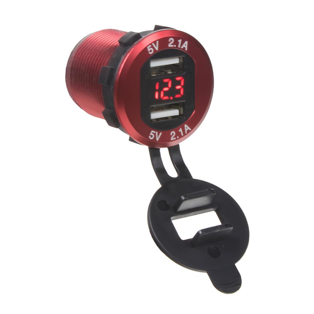 2x USB nabíječka s voltmetrem, hliníková do panelu, červená