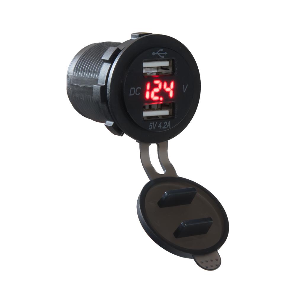 2x USB nabíječka s voltmetrem voděodolná do panelu, červená