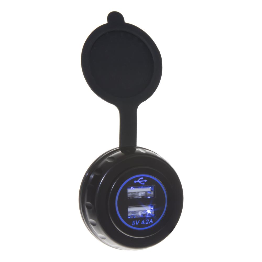 2x USB nabíječka, hliníková na plochu, modré podsvícení