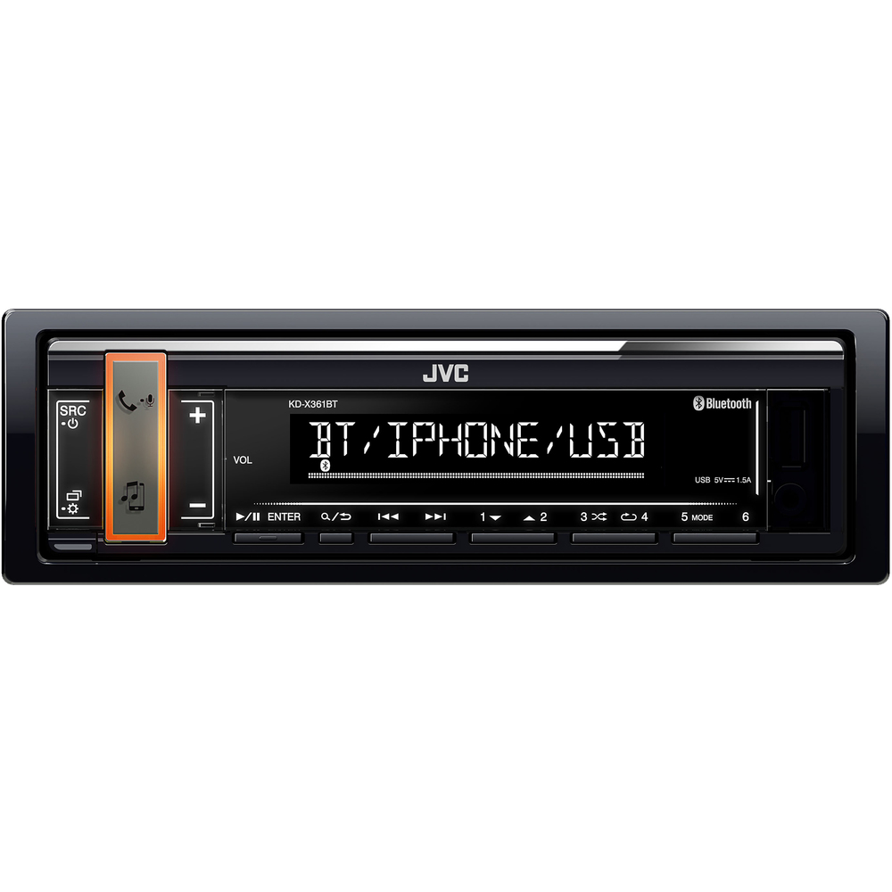 JVC autorádio bez mechaniky/Bluetooth/USB/AUX/volitelnou barvou podsvícení tlačítka/odním.panel