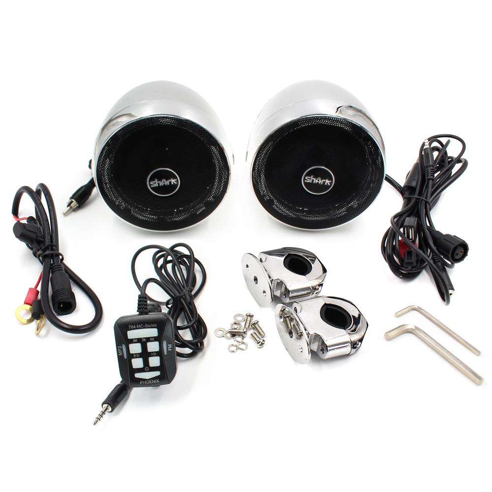 Zvukový systém s reproduktory na motocykl, skútr, ATV s FM, USB, AUX, BLUETOOTH, barva chrom