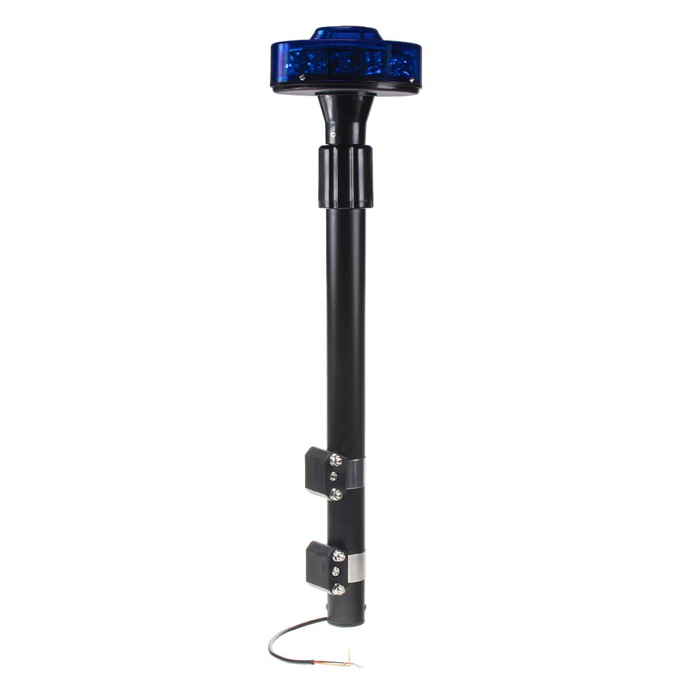 LED maják, 12–24 V, 12x3W modrý s teleskopickou tyčí na motocykl