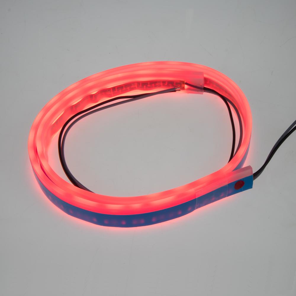 LED silikonový extra plochý pásek červený 12 V, 60 cm